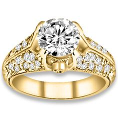 1.16 ctw 14k YG Natural H-I Color, SI Clarity, Accent Diamonds Engagement Ring #engagementrings #jewelry #pricepointshop