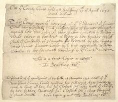 Original writings from Salem Witch Trials