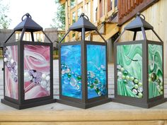 Locally Made Lanterns  Glass on Glass Designs  By Katie Crowe     $82.00 each     Visit us at www.facebook.com/urbanbird    to order one!