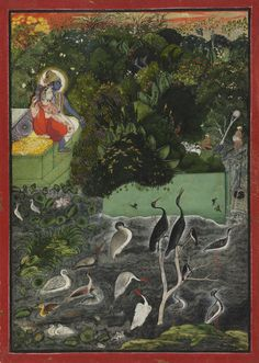 Radha and Krishna beside a Lake at Sunset  Artist/maker unknown, India  Geography: Made in Kota, Rajasthan, India, Asia Date: c. 1750 Medium...