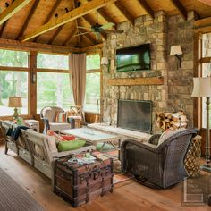Because our team recognize how a lot fun it is to goal and at that point create a spectacular exterior room for you and your family members, our team are thrilled for you. Adding a screened veranda… Four Seasons Room, Three Season Room, Porch Fireplace, Fireplace Seating, Screened Porch Designs, Screened In Porch, Porch Roof, Porch Ceiling, Building A Porch