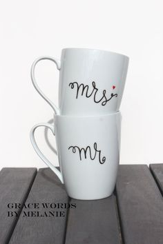 Mr and Mrs Coffee Mug Set. You really don't need 20 mugs when you both drink coffee everyday...