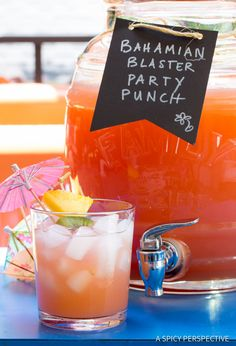 Large Batch Caribbean Cocktails - The Bahamian Blaster Party Punch is the perfect boozy beverage for summer! Loaded with 3 juices and 6 rum varieties, it& Alcoholic Punch Recipes, Party Punch Recipes, Drinks Alcohol Recipes, Alcoholic Drinks, Beverages, Drink Recipes, Coctails Recipes, Dishes Recipes, Bar Recipes