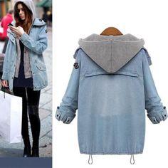 Womens Denim Coat Hoodie Hooded Outwear Jean Winter Jacket Oversized 2Pcs Suit