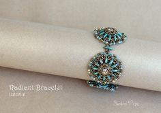 Crescent Beads and 12mm Rivolis Bracelet Tutorial by SidoniasBeads