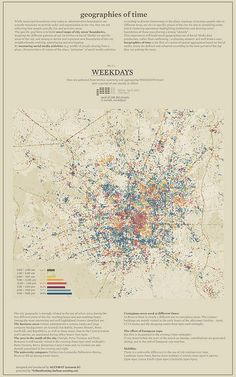 g.o.t. weekdays by Accurat | Flickr - Series of spatial aggregation based on measuring social media activities and colour coded according to the time of day.