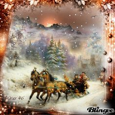 A Christmas sleigh ride . Christmas Scenery, Old Time Christmas, Cozy Christmas, Christmas Past, Victorian Christmas, Retro Christmas, Vintage Christmas Cards, Christmas Pictures, Beautiful Christmas