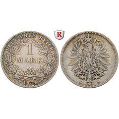 Deutsches Kaiserreich, 1 Mark 1883, F, s-ss, J. 9: 1 Mark 1883 F. J. 9; schön-sehr schön 80,00€ #coins