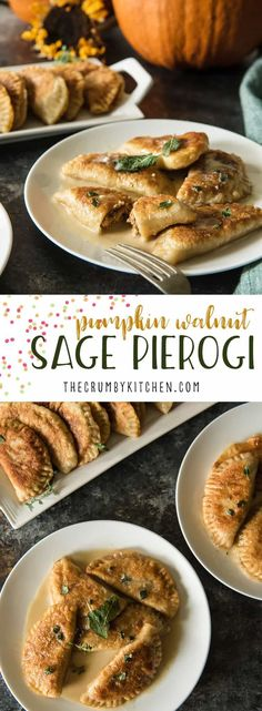 A seasonal take on Nana's Polish dumplings, these Pumpkin Walnut Sage Pierogi are extra delicious when paired with a brown butter cream sauce! #autumn #fall #pierogi #pumpkin #pumpkinweek #sage #walnut #brownbutter #creamsauce #recipe #comfortfood #polish #dumpling