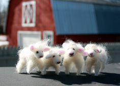 Wool Sheep Needle Felted Lambs by susio on Etsy