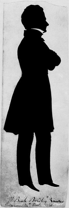 """Augustin-Amant-Constant-Fidèle Edouart (1789–1861), """"John Beale Bordley,"""" 1840. Black paper cut-out silhouette, 9 1/2 x 3 in. Photographed in May 1947 in a private collection in Baltimore, Maryland. The Frick Collection / Frick Art Reference Library Photoarchive. #silhouettes #fricklibrary"""