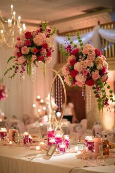 Pink wedding centrepiece