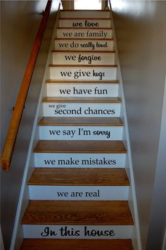 In This House Quote Staircase Wall Vinyl Decal Sticker Decals Room Decor Word...