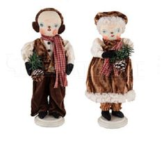 Joe Spencer Gathered Traditions Gallerie II FORREST SNOWMAN FANNIE SNOWWOMAN 2pc