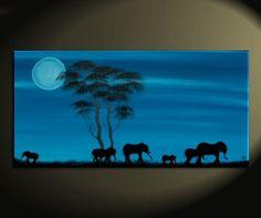30x15 Custom African Elephant Painting Blue Moon Acacia Trees Safari