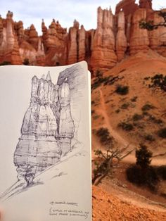 """shoomlah: """" a bunch of the plein air sketches I was working on during my Utah trip! A week drawing rocks, getting mistaken for a ranger twice- pretty ideal. """" what the heck, this seems appropriate for Mystic Places as well. Sketchbook Drawings, Art Drawings, Sketches, Landscape Sketch, Landscape Drawings, Landscapes, Drawing Rocks, Painting & Drawing, Ligne Claire"""
