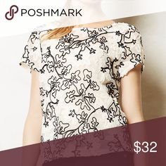 Anthropologie Cherry Blossoms Top Ivory and black cherry blossoms Blouse by Meadow Rue. Excellent condition. Anthropologie Tops