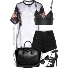 A fashion look from July 2015 featuring Givenchy blouses, Topshop shorts and T By Alexander Wang. Browse and shop related looks. Stage Outfits, Mode Outfits, Chic Outfits, Trendy Outfits, Summer Outfits, Fashion Outfits, Womens Fashion, Fashion Trends, School Outfits