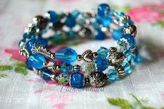 Turquoise Bracelet Blue Memory Wire Bracelet by KimalleDesign Boho Jewelry, Beaded Jewelry, Beaded Necklace, Beaded Bracelets, Unique Jewelry, Jewellery, Memory Wire Bracelets, Handmade Bracelets, Handmade Jewelry