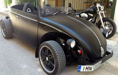 Kostas Sukos, of Peristérion, Greece. His 1300cc HotRod on 17″ wheels. It was a 1303 VW Beetle Cabriolet.