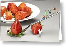 Tiny People Big World Greeting Cards - Lifting strawberry by a fork lever food physics Greeting Card by Paul Ge