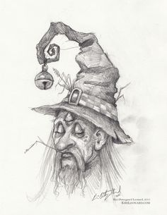 The utmost important fairy wizard Three-Eyes © Kiri Østergaard Leonard, 2015 | KiriLeonard.com #Drawing #FairyArt #Fairy #Wizard