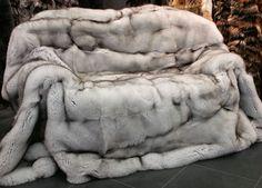 SAGA blue fox fur blanket - Natural fur blanket with very dense and soft hair. The fox fur blanket is handmade by our master furriers in Kiel.