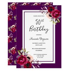 Shop Birthday party black burgundy white florals invitation created by Thunes. Personalize it with photos & text or purchase as is! Zazzle Invitations, Bridal Shower Invitations, Birthday Invitations, 18th Birthday Party, Birthday Gifts, Birthday Celebration, Birthday Ideas, Birthday Desserts, Mom Birthday