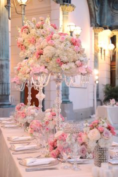 Pink and crystal wedding reception table settings