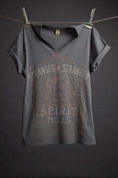Asphalt cotton t-shirt with exclusive Spirit no. 13 design by Stranger & Stranger. 100% pima cotton Alternative Apparel V-Neck.
