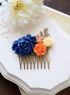 Orange and Cobalt Blue Wedding Hair Comb Cobalt Blue by LeChaim, $26.50