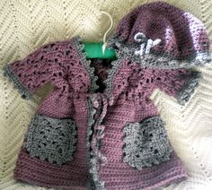 Crochet Sweater with Matching Hat Heather Plum by MagdaleneKnits