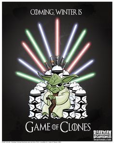 Prepare for Game of Thrones Season 4 with this Yoda 'Game of Clones' Poster by Bearman Cartoons!