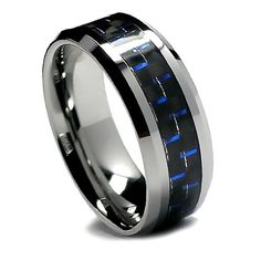 Top Value Jewelry - Matching Tungsten Wedding Band Set, His & Her Black and Blue Carbon Fiber Rings, High Polish Bevel Edge, Men (size Women (size - Half Sizes Available. Maybe get small diamonds in the women's band and both engraved? Matching Wedding Band Sets, Wedding Matches, Perfect Wedding, Batman Wedding Rings, Black Tungsten Rings, Black Diamond Jewelry, Tungsten Wedding Bands, Bridal Ring Sets, Bridesmaid Jewelry Sets
