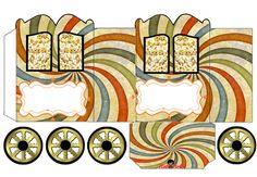 Caja de bellos colores, con forma de Carruaje, para Imprimir Gratis.