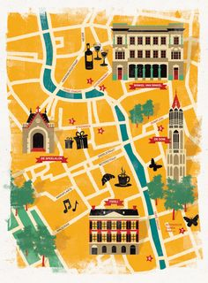 Annemarie Kleywegt - Map of Utrecht. An example of a more stylized map vs technical map: Utrecht, Rotterdam, Travel Maps, Travel Posters, Motion Design, Tourist Map, Travel Illustration, Flat Illustration, Map Design