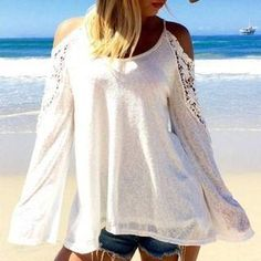 #NewYear #YesStyle - #Hanni Cold Shoulder Lace Panel Top - AdoreWe.com