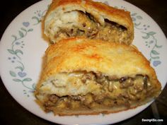 Cheeseburger Stromboli - Sub 1,000 Island (yuck!) for Ranch maybe, then save LOTS of time by using Pillsbury's pre-made pizza crust :)