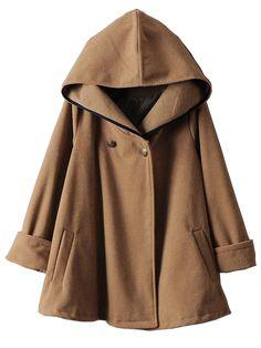 Abrigo capa de lana con capucha manga larga-camello EUR€27.17