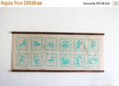 SALE Vintage Zodiac Sign Wall Hanging / 70's /
