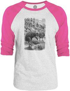 Big Texas Wild Kiwi Illustration (Black) 3/4-Sleeve Raglan Baseball T-Shirt