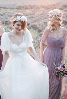 spring wedding gowns #wedding dress # purple bridesmaid dress