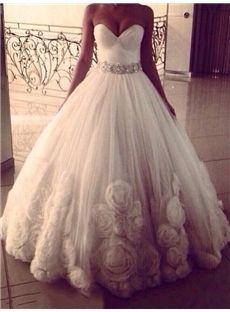 Hall Sleeveless Floor-Length Classic & Timeless Spring Flowers Beading Church Wedding Dress