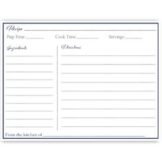 Free printable recipe card page 8 12 x 11 recipe cards simple gown navy recipe card forumfinder Images