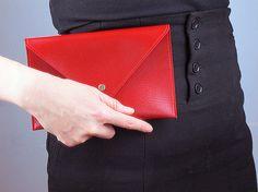 Unisex Medium Size Vegan Leather Envelope Clutch - Red Purse Bag Handbag Wallet - Handmade