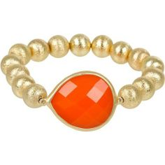 """Heirloom Finds Trendy Tangerine Orange Faceted Teardrop and Gold Stardust Bead Stretch Bracelet Heirloom Finds. $9.99. Add a splash of color to your day!. Stretch bracelet is 7"""" so can fit slightly larger or smaller wrist!. Arrives Gift Boxed!. Huge tangerine faceted lucite gem is star of this gold stardust bead bracelet. Perfect for everyday wear - easy on and off!. Save 60%!"""