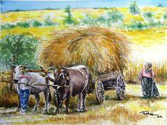 ORHAN GÜLER - Türkish Watercolor Artist Painter - Denizli Sarayköy Art Work Watercolor Artist, Watercolor Animals, Crayons, Cows, Acrylics, Art Work, Horses, Drawings, People