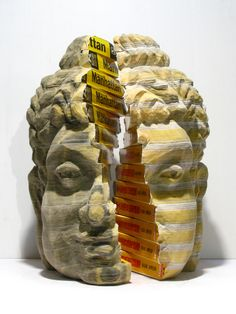 """Plum Blossoms Artist: Chen Long-bin; Mixed media sculpture with Chinese and English New York Yellow Pages Telephone Directories, 2008, Sculpture """"One Buddha ,Two System"""""""