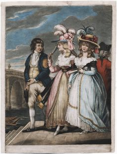 """""""The Thames Waterman"""", 1785. The waterman is probably trying to entice the ladies to cross the river in the traditional manner, instead of taking the newfangled bridge! He wears his licence badge on the sleeve of his coat."""