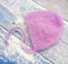 Light Pink Newborn Bonnet / Mohair Silk Bonnet / Newborn Photography Prop / Heirloom Gift / Hand Knitted Baby Bonnet / Baby Shower Gift